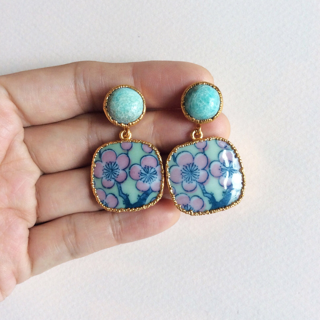 Sea foam sakura porcelain and amazonite earrings