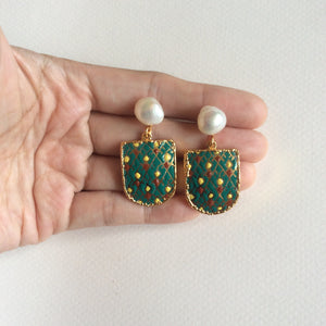 Holiday colors harlequin porcelain earrings with freshwater pearl studs