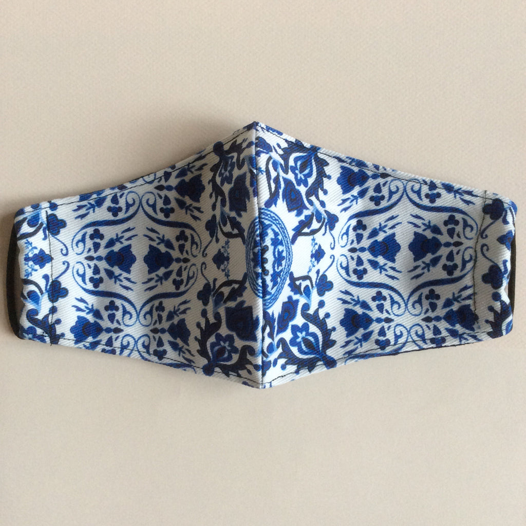 Denim blue and white chinoiserie mask
