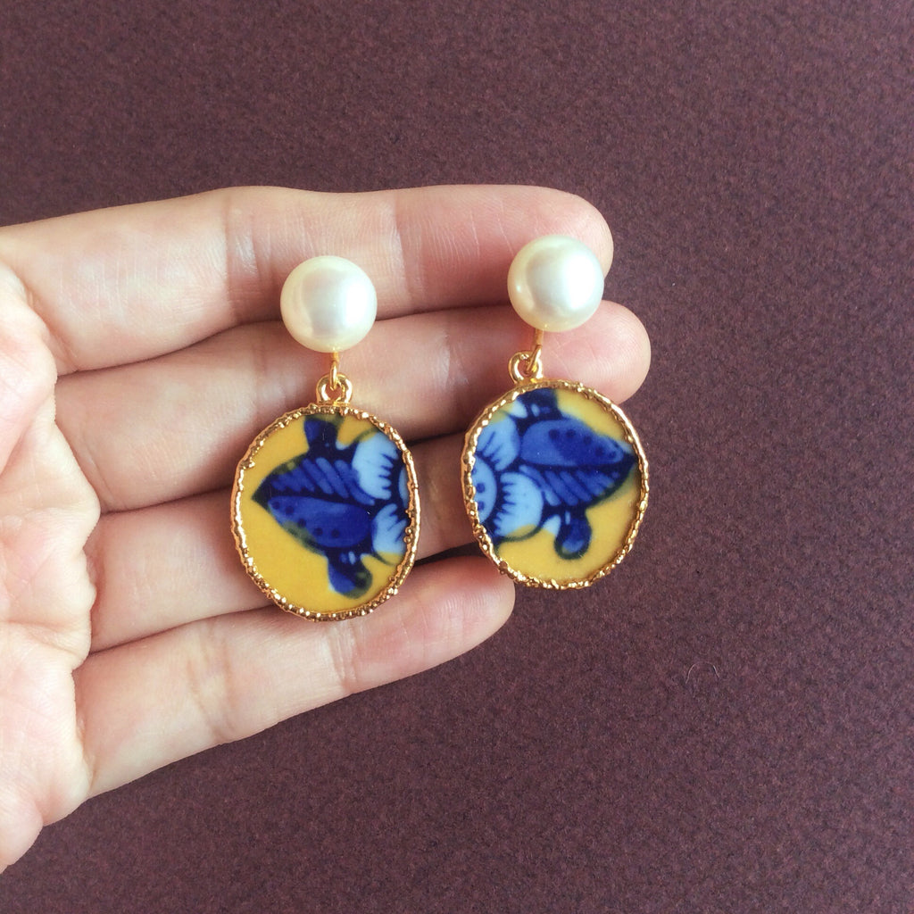 Blue and yellow porcelain earrings with freshwater pearl studs
