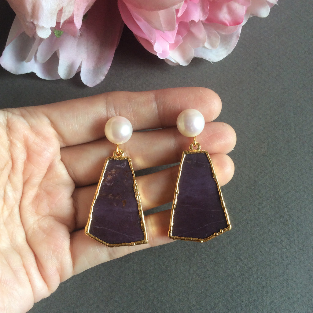 Turkish 'purple jade' Turkiyenite earrings with FW pearls
