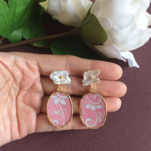 Pink acanthus porcelain with freshwater pearl studs
