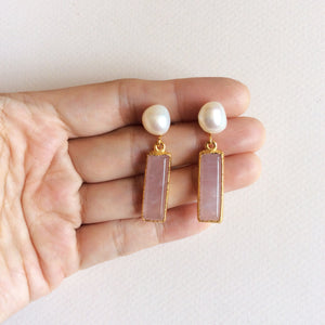 Rose quartz earrings with freshwater pearl studs