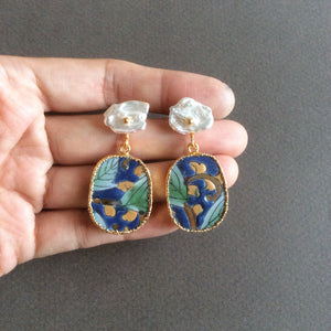 "Blue ""night scene"" chinoiserie porcelain earrings with flat freshwater pearls"