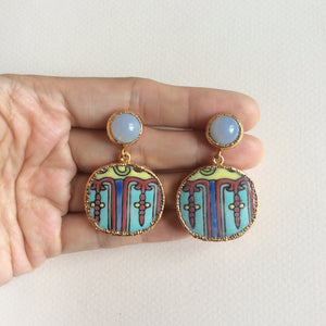 Peranakan porcelain earrings with blue chalcedony studs
