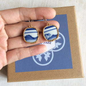Mountains blue and white porcelain french wire hook earrings
