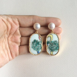 Feather plume porcelain earrings with freshwater pearl studs