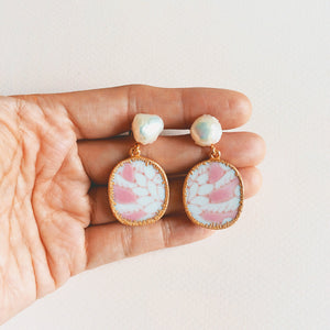 Wheat and rope pink porcelain with freshwater bumpy baroque pearl studs