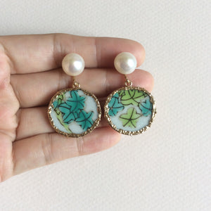 Green leaves porcelain earrings
