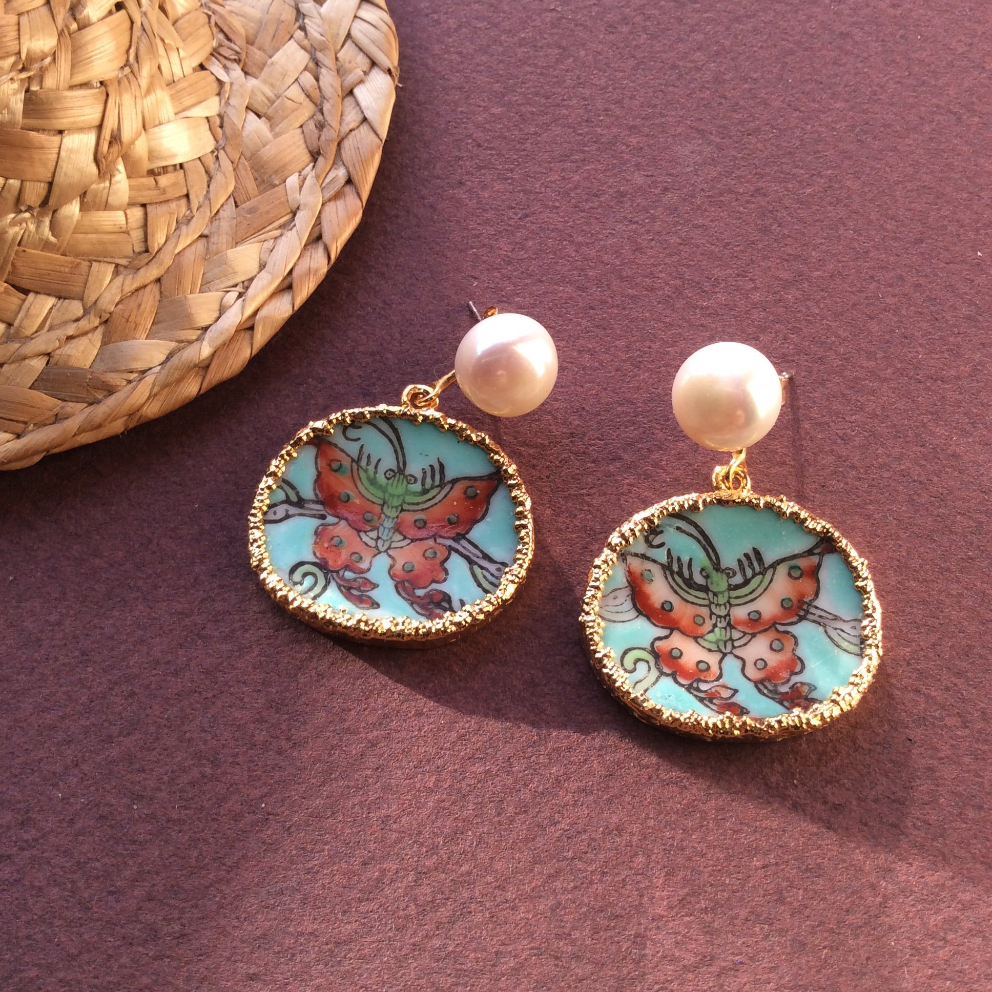 Reserved for Hazel. Turquoise ground butterfly porcelain with freshwater pearl studs