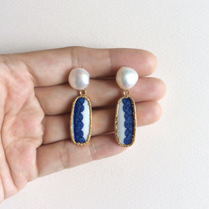 Blue and white scallop edge lace motif porcelain and pearl earrings