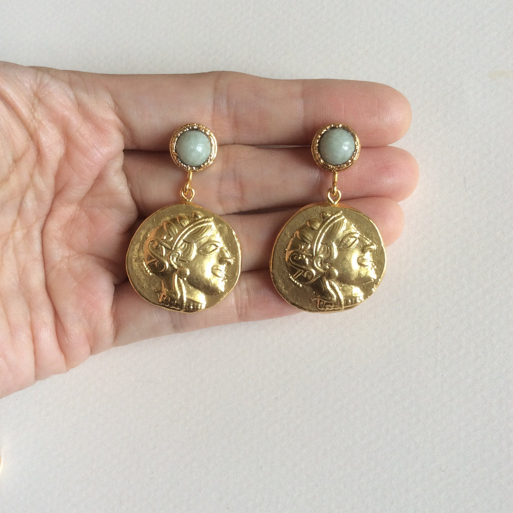 Silk Road traveler Roman coin earrings with pale green jade studs