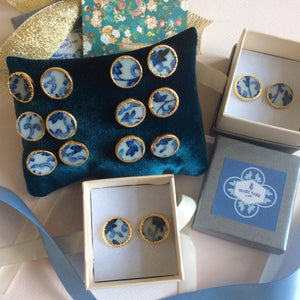 Blue and white porcelain chinoiserie stud earrings