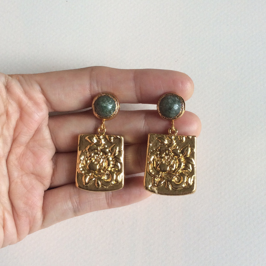 Golden peony tablet with nephrite jade studs