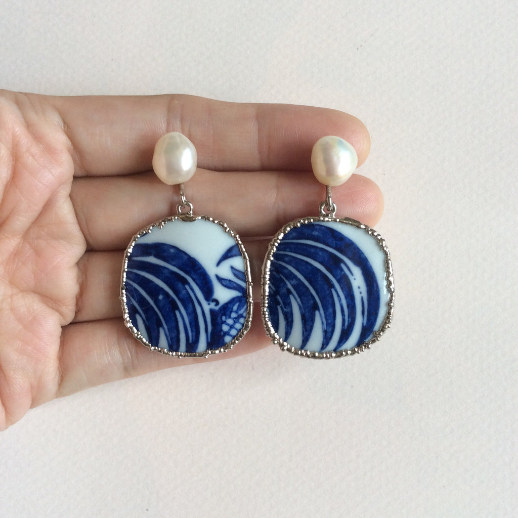 Rooster tail blue and white chinoiserie porcelain earrings with freshwater pearls
