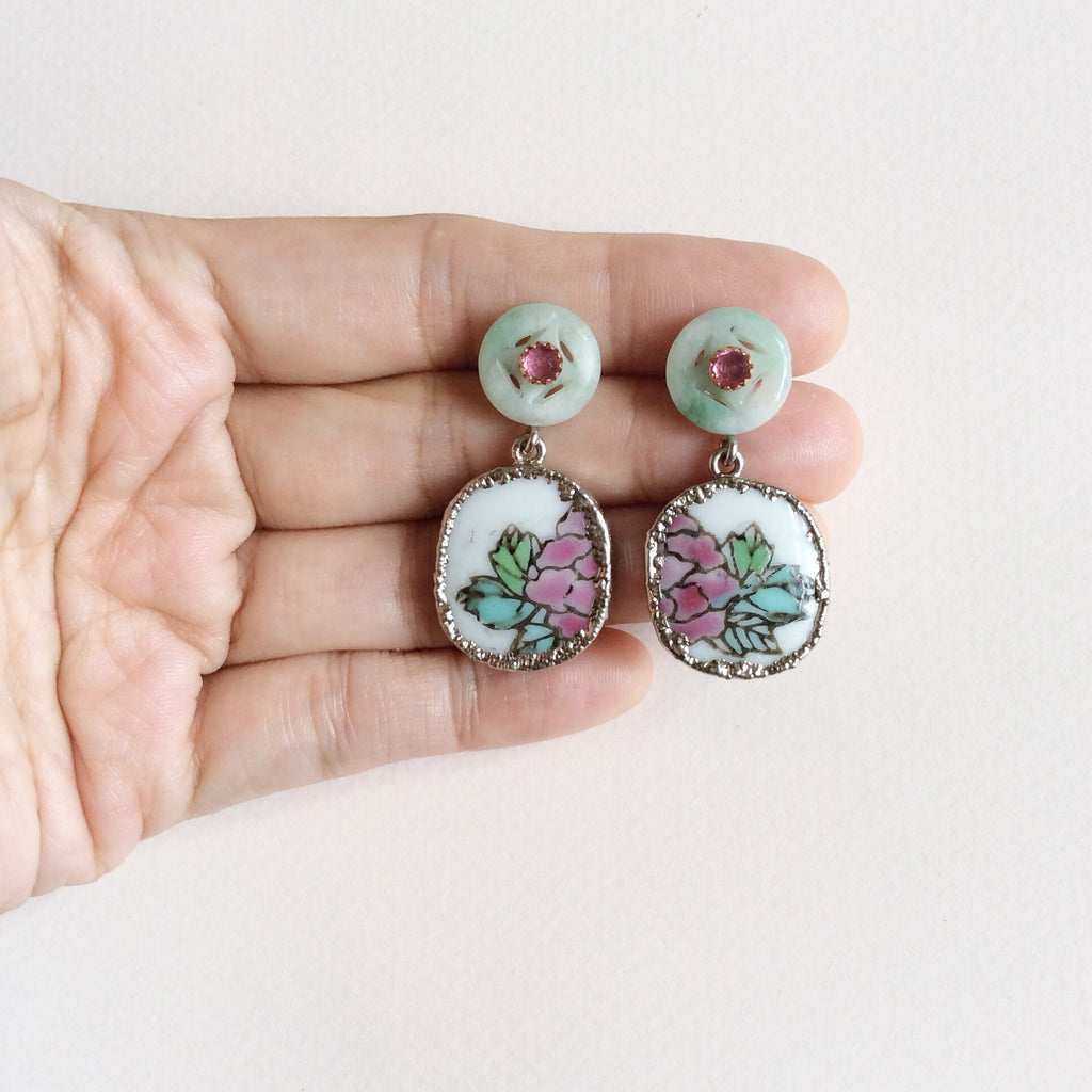 Rose porcelain earrings with jade and pink tourmaline studs