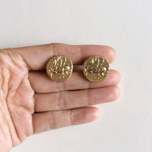 Pegasus coin stud earrings