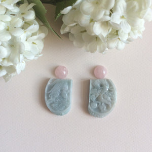 Custom order for Orlyhoffmanbarr. Rose quartz studs and jade carving earrings.