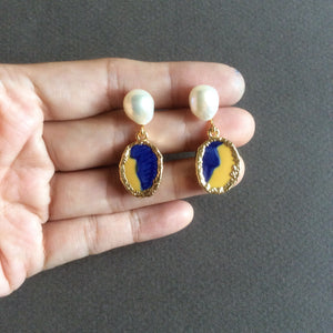 Small blue and yellow porcelain earrings with freshwater pearls