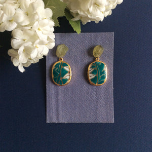 Raw green garnet and teal geometric porcelain earrings