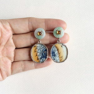 Fish scale porcelain earrings with jade and citrine studs