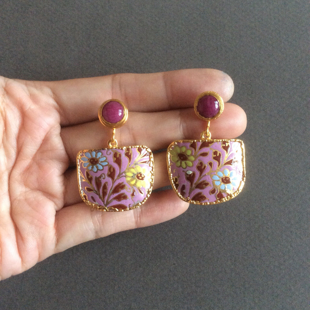 Pink batik porcelain with ruby studs