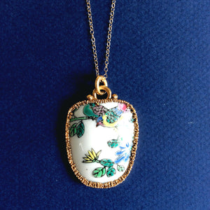 Bird on a branch porcelain pendant necklace