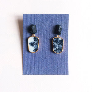 Raw onyx black & white porcelain earrings