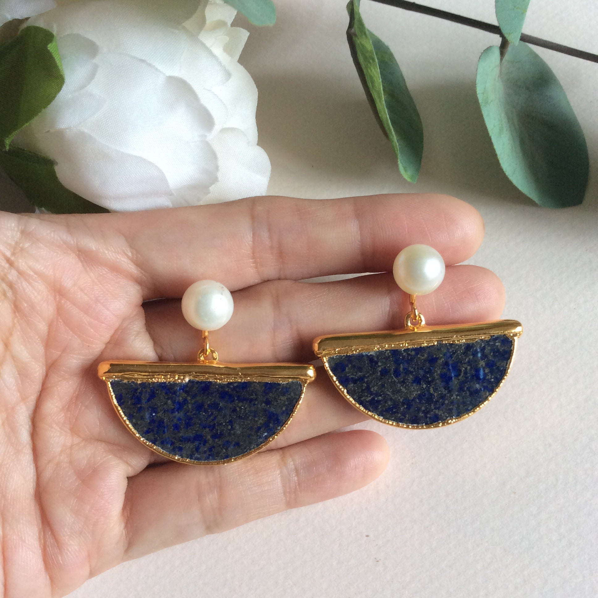 Lapis lazuli half moon earrings with nephrite jade ropetwist studs