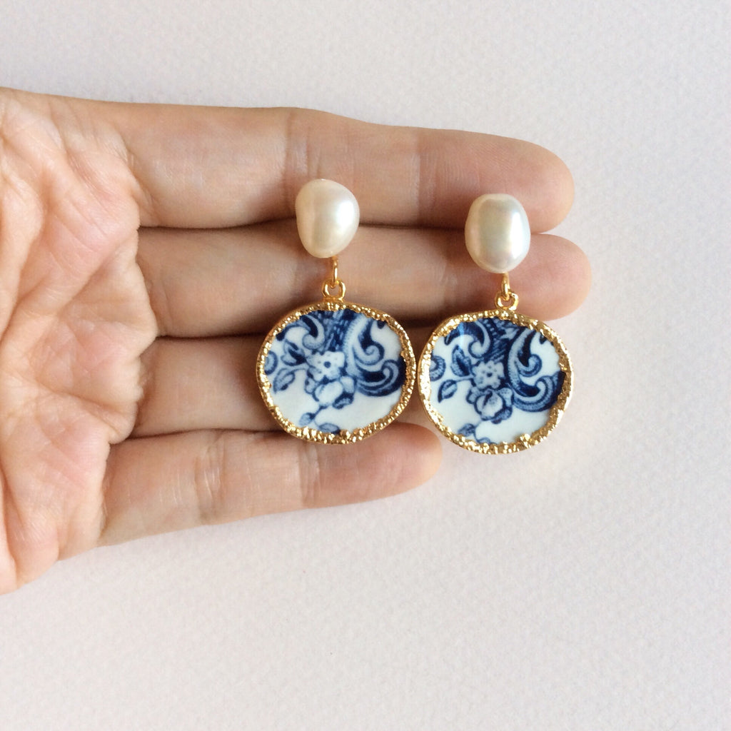 Blue and white chinoiserie porcelain earrings with freshwater pearl studs