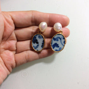 For Jan. Blue and white chinoiserie porcelain earrings with freshwater pearls