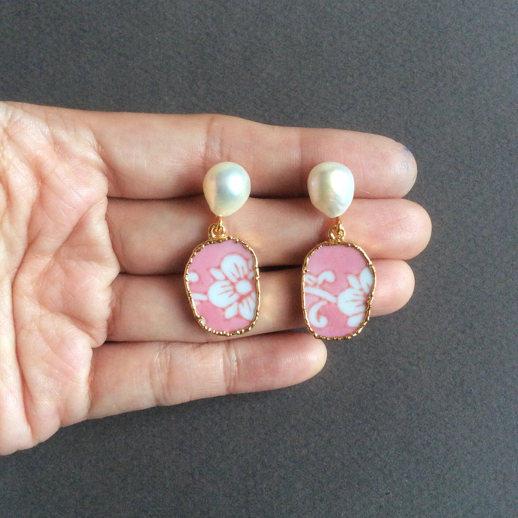 Pink and white porcelain earrings with freshwater pearls