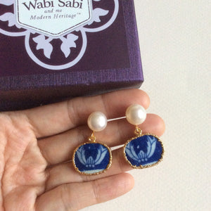 Bats blue and white porcelain earrings with FW pearls