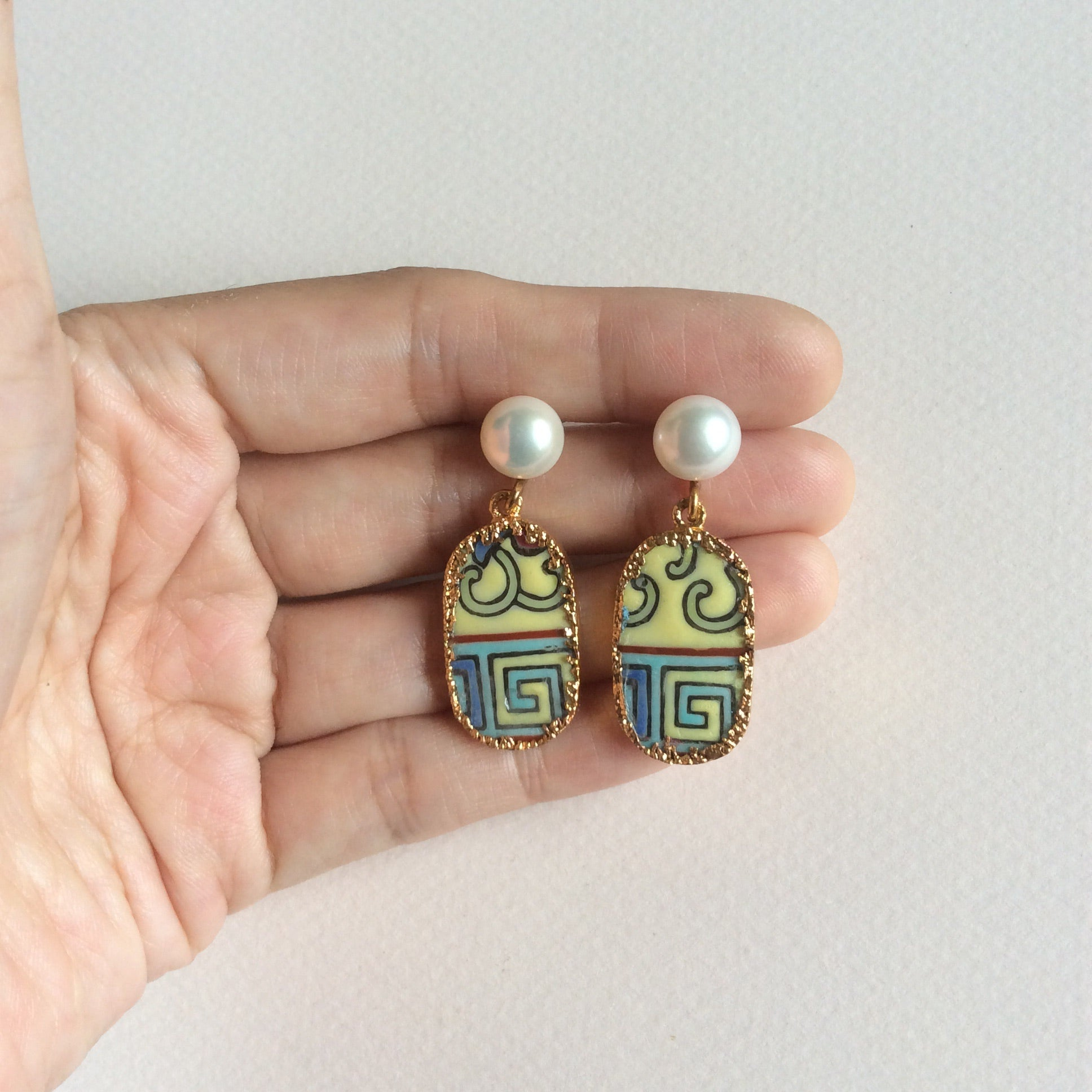 Peranakan porcelain earrings with freshwater pearl studs