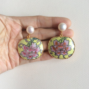 Imperial yellow peony porcelain earrings with freshwater pearl studs