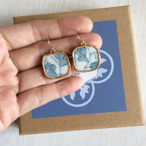 Foliage porcelain french wire hook earrings