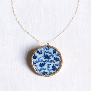 Chinoiserie Blue And White Porcelain Brooch / Necklace