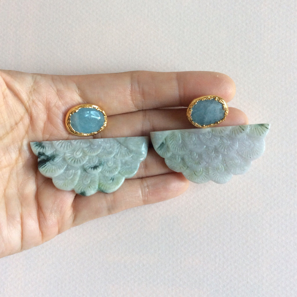 Mottled peacock jade half moon earrings with aquamarine studs
