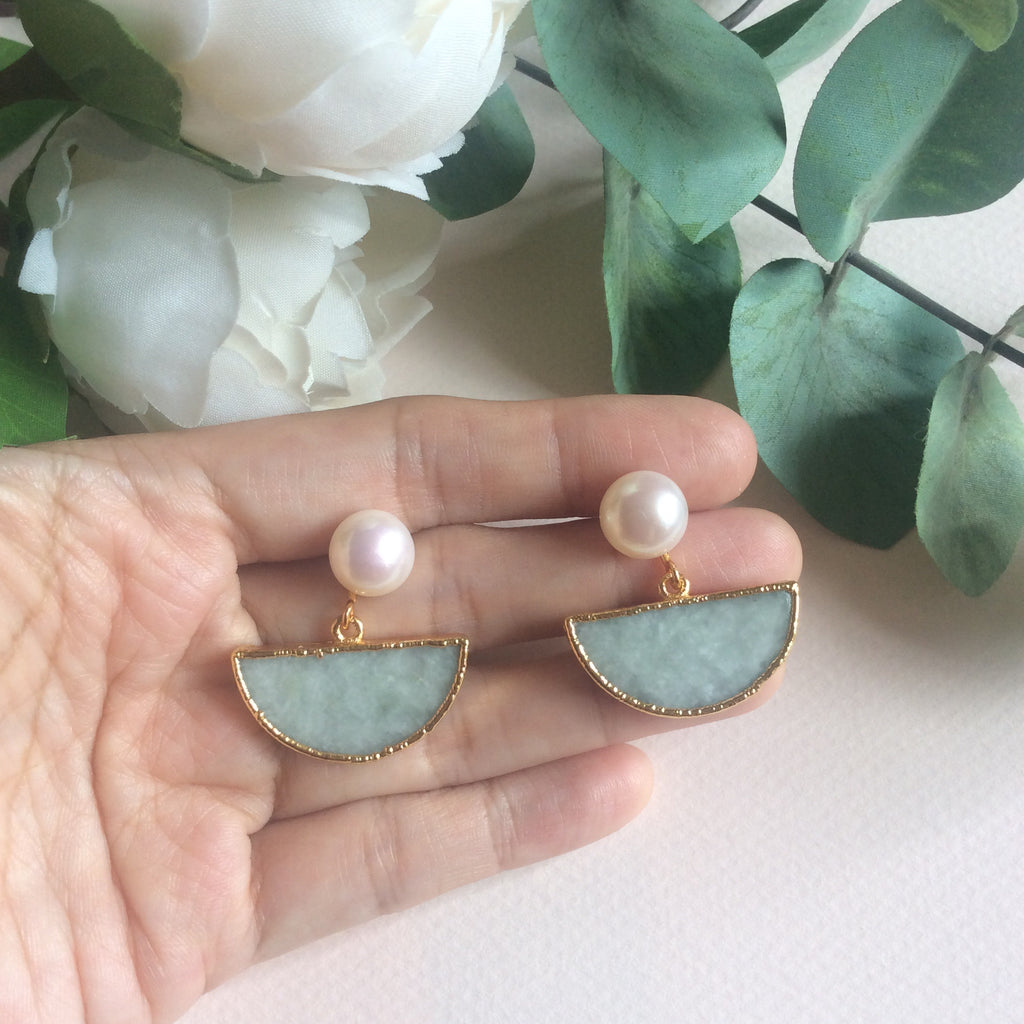 Mini half moon jade earrings with FW pearls