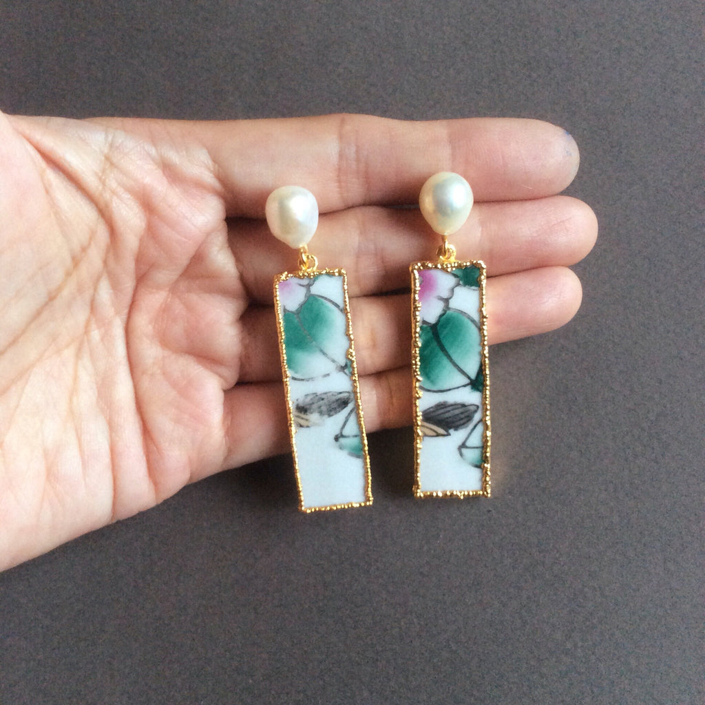 Lotus pond chinoiserie porcelain earrings with freshwater pearls