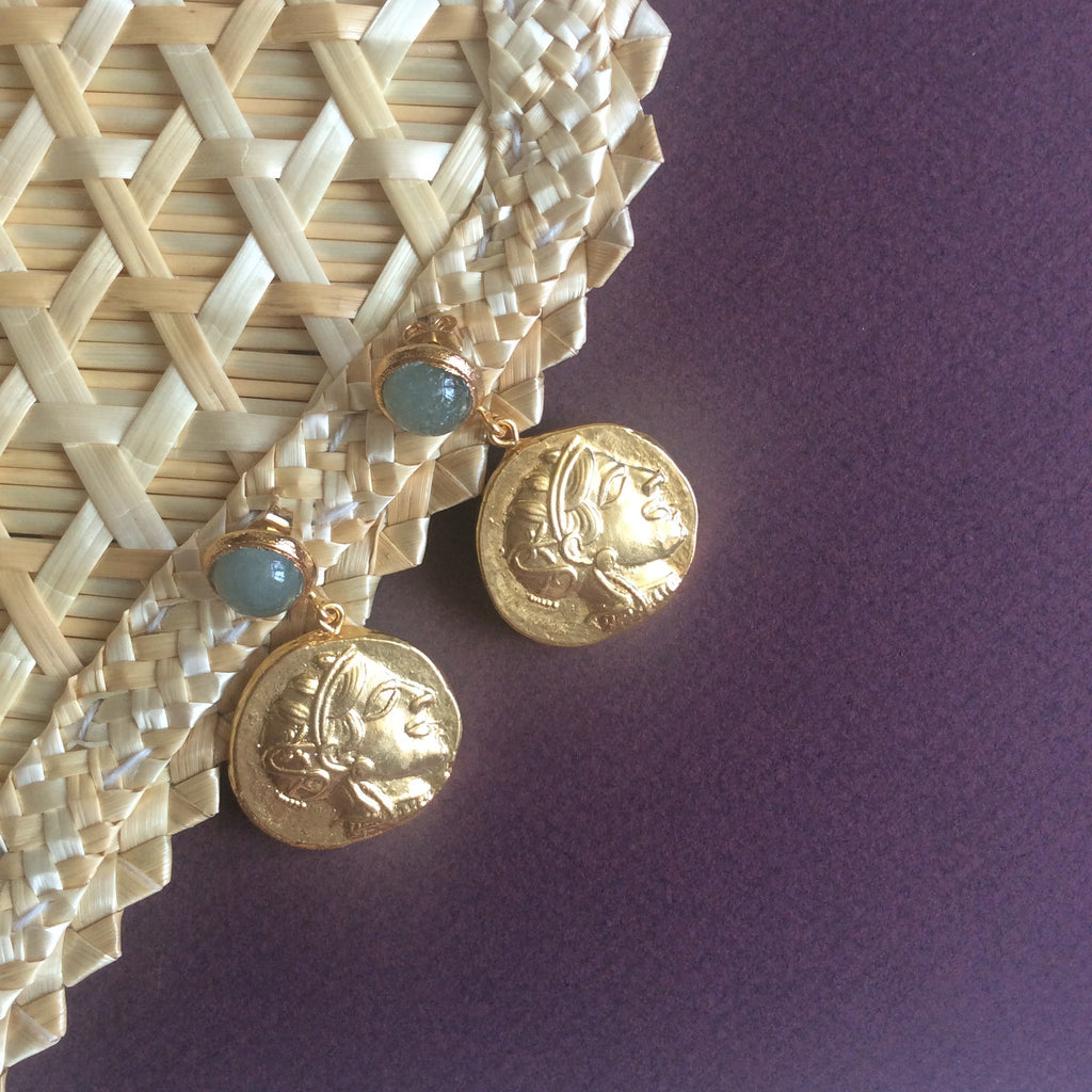 Silk Road traveler Roman coin earrings with jade studs
