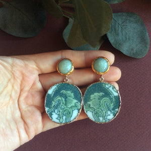 Green dragons porcelain with jade studs