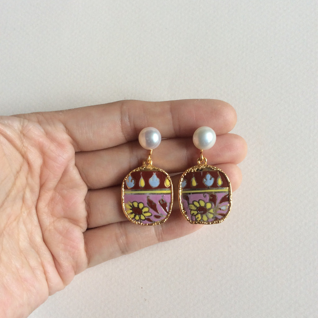 Pink batik porcelain earrings with round freshwater pearl studs