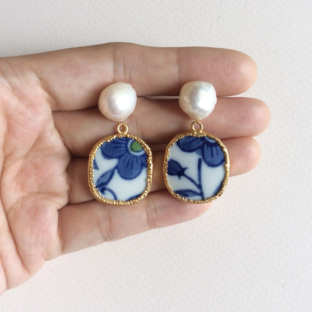Blue and white floral porcelain and pearl earrings