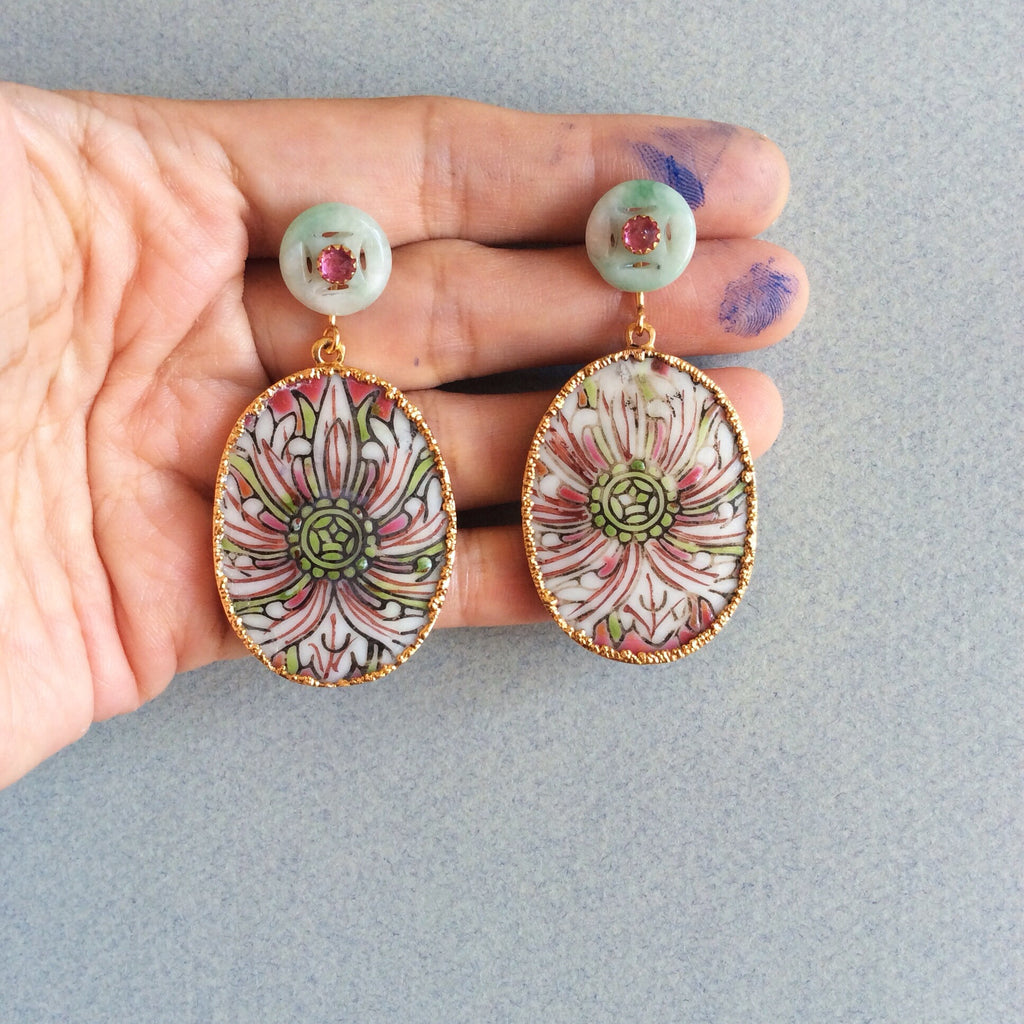 Pink lotus flower porcelain with jade and pink tourmaline earrings
