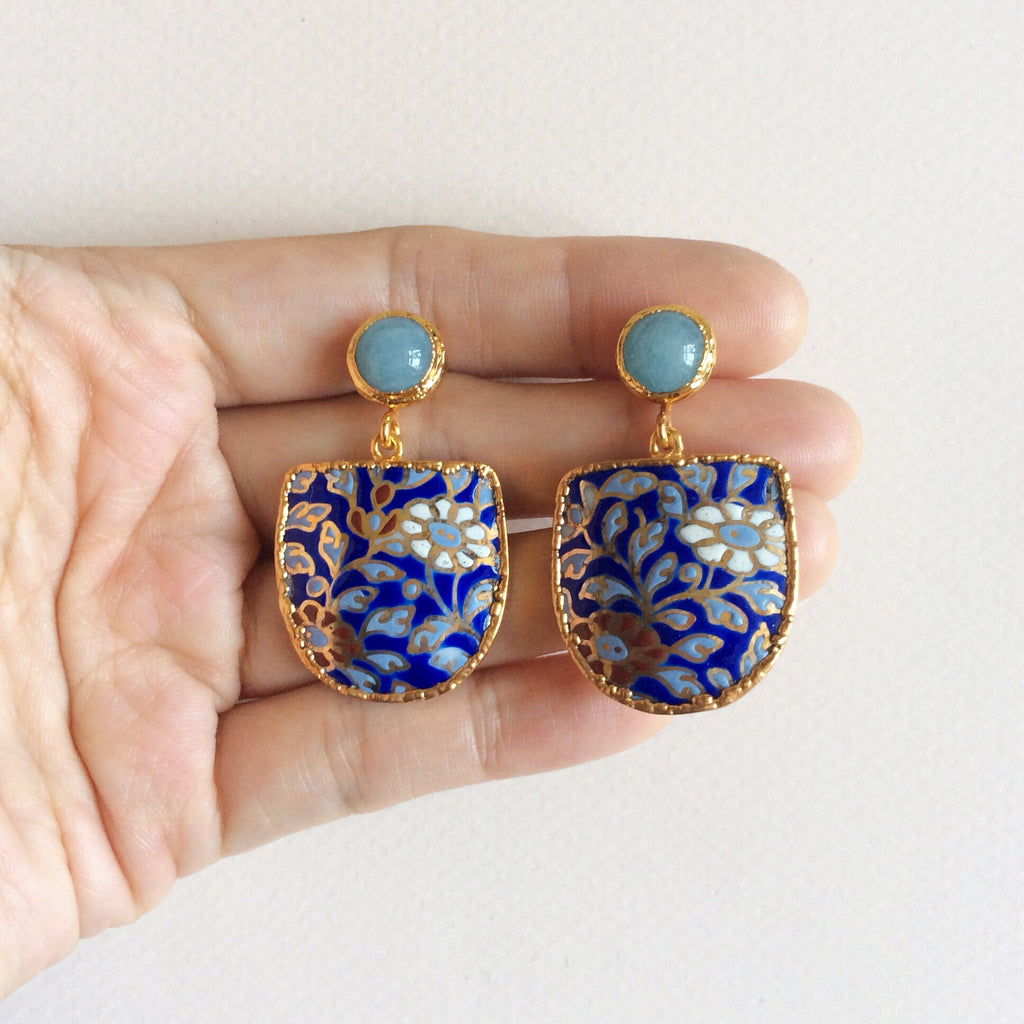 Batik porcelain earrings with aquamarine studs