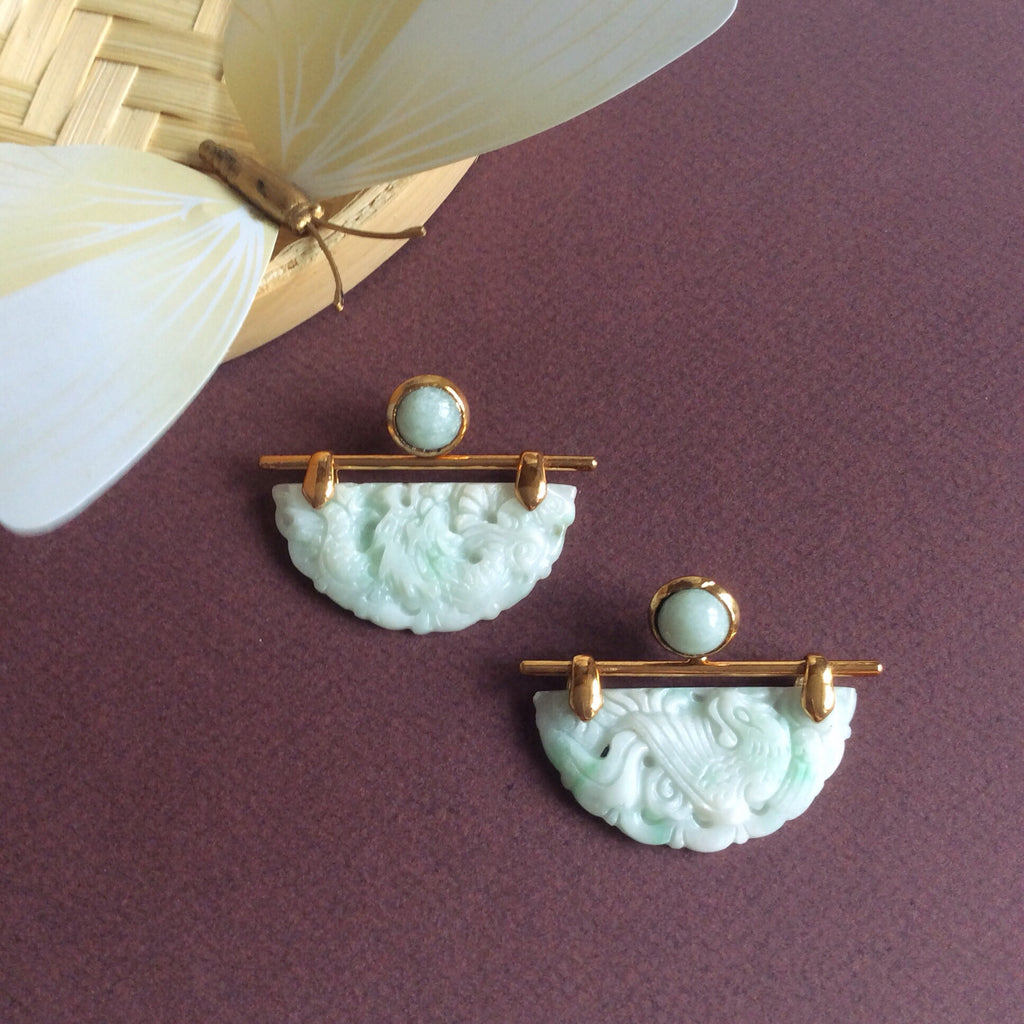 Jade mint green dragon & phoenix half moon earrings