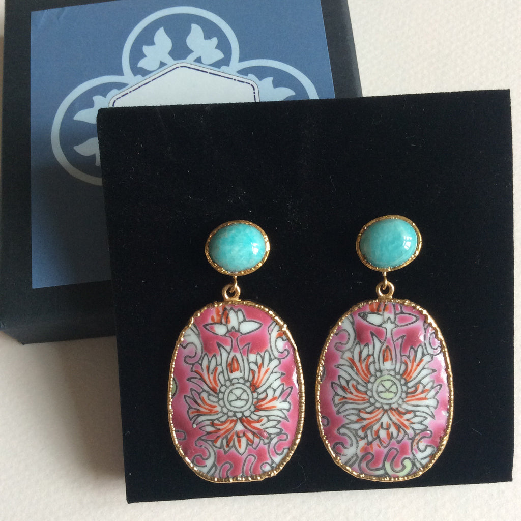 Raspberry porcelain and amazonite earrings