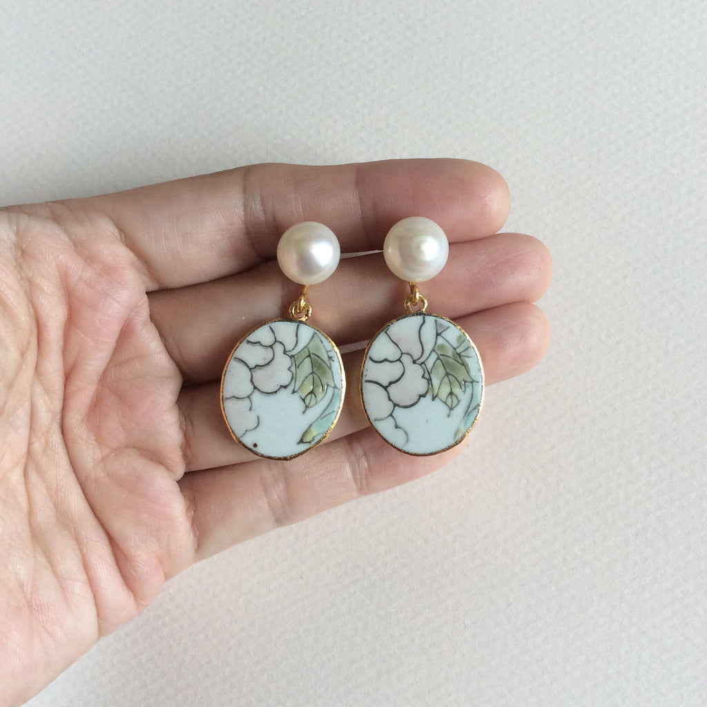 Blush pink floral porcelain earrings