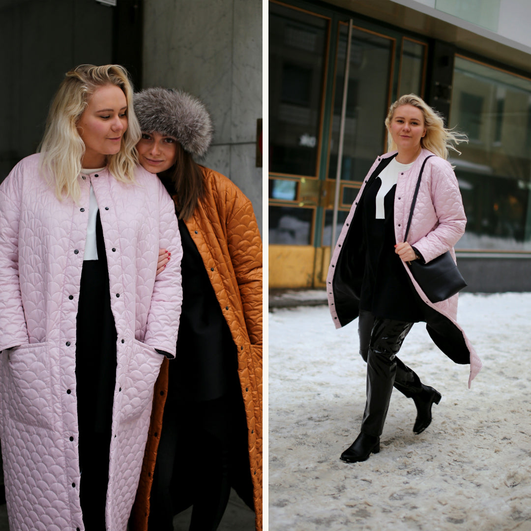 R/H Bobi Coat & Long Coat, Soft Ice Pink & Mustard Gold